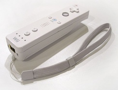 Wii Remote with attached strap