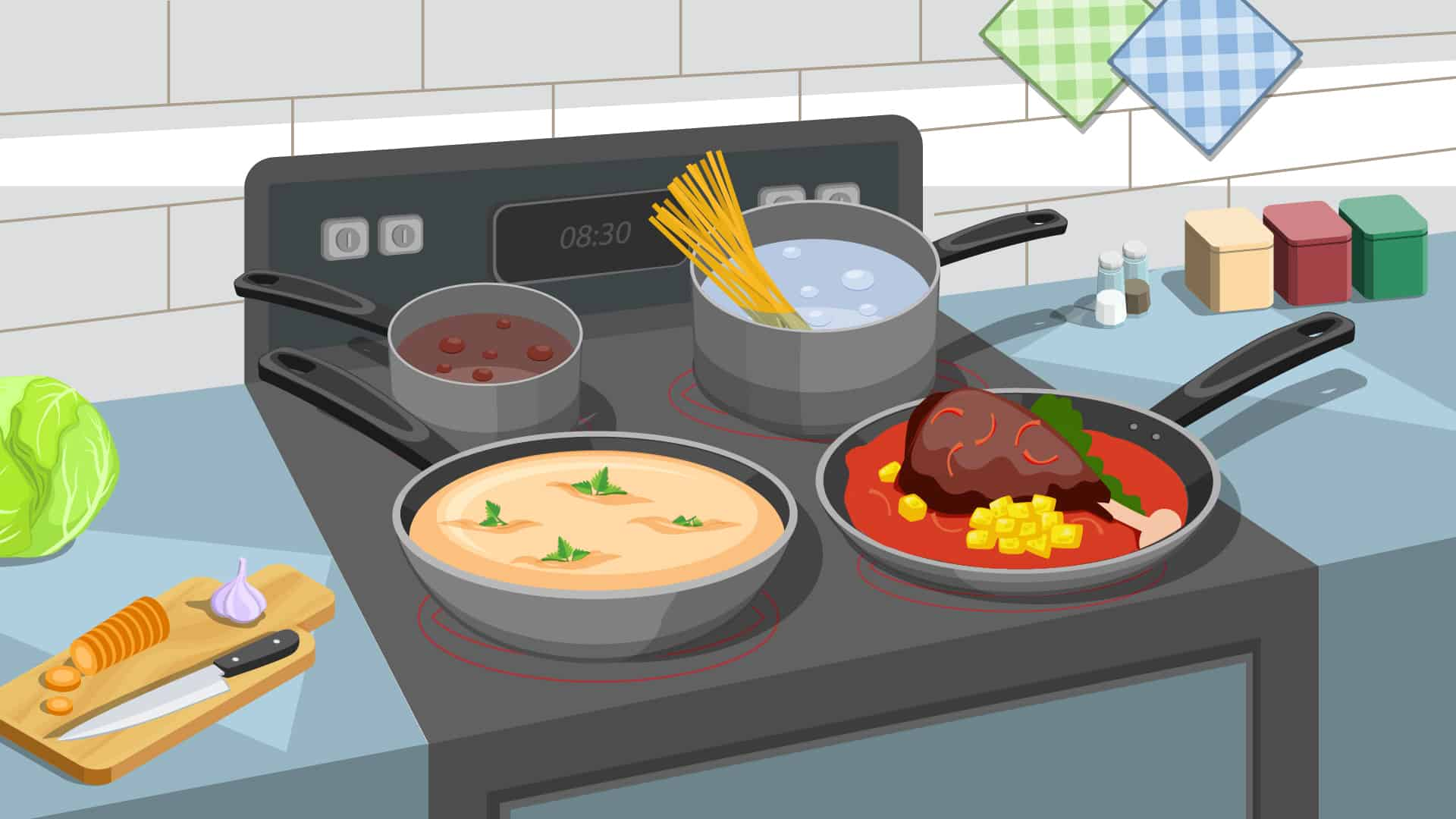 cartoon of food cooking in pans on stove